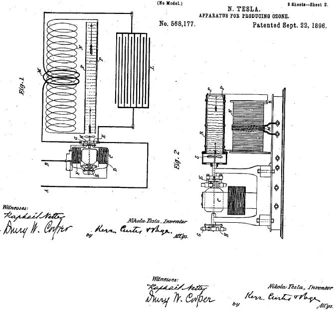 tesla patent 588177 apparatus for producing ozone
